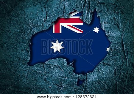 Image relative to Australia travel. Australia map in concrete textured frame