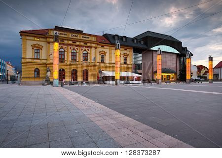 MARTIN, SLOVAKIA - MAY 2, 2016: Main square in the center of Martin, Slovakia on May 2, 2016.