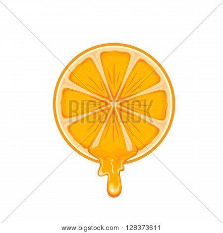Fresh ripe orange isolated on white background, illustration.