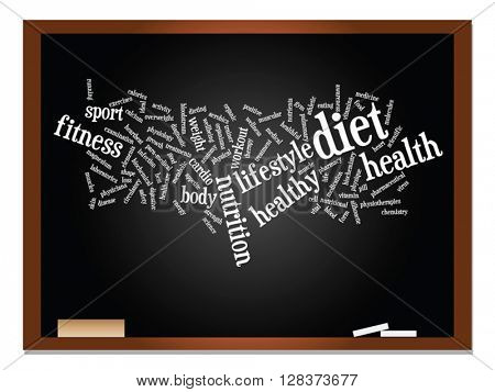 Vector concept or conceptual abstract word cloud on blackboard and chalk background