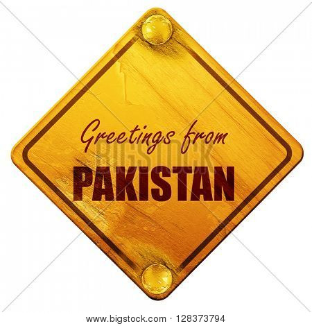Greetings from pakistan, 3D rendering, isolated grunge yellow ro