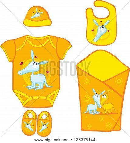 Baby Layette with cute ardvark - vector illustration