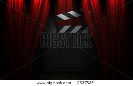 Movie Clapperboard On A Red