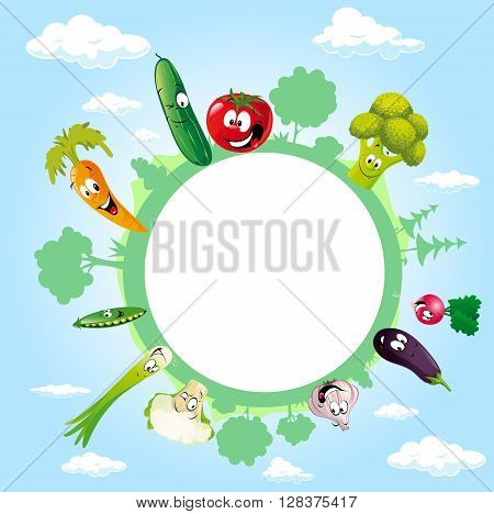 globe surrounded by clouds sky and vegetable - vector illustration