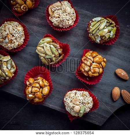 Candied Nuts On Cutting Board