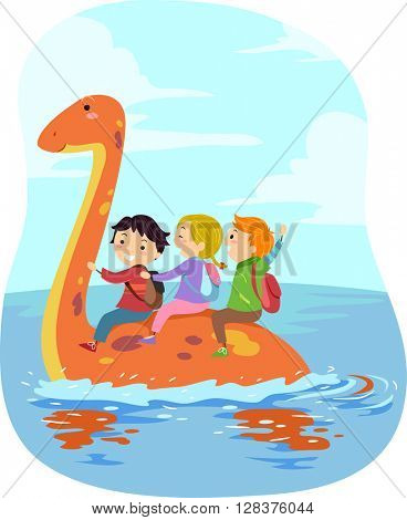 Stickman Illustration of Kids Riding an Orange Dinosaur