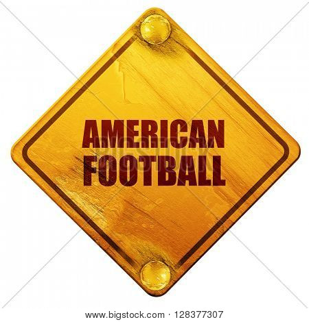 american football, 3D rendering, isolated grunge yellow road sig