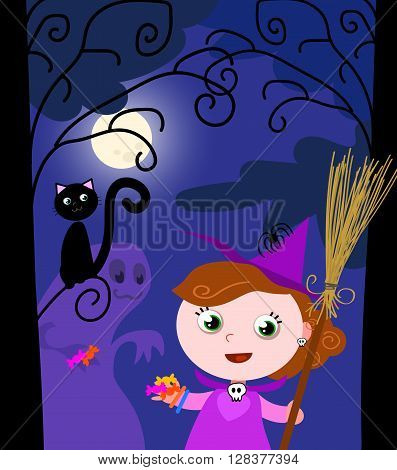 Young girl with sorceress costume and a funny monster trying to steal her the candies.