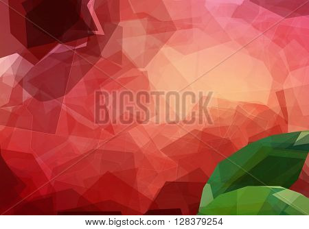 Macro creative view of pomegranate. Garnet fruit Peel Texture unusual polygonal background. Modern vector editable template. Fruit with leaf creative illustration
