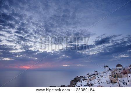 Oia after sunset at Santorini, Greece
