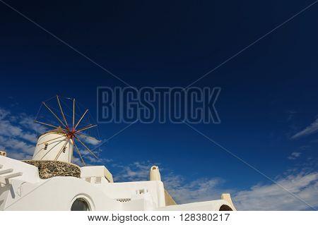 Windwill of Oia Santorini, Greece, copyspace