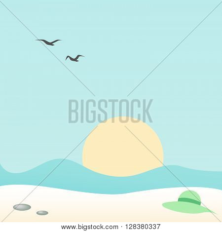 Woman's hat on the sand on the beach. Art vector illustration of seascape for your design.