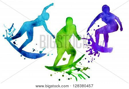 colored silhouette of three human surfer. isolated. painted in watercolor