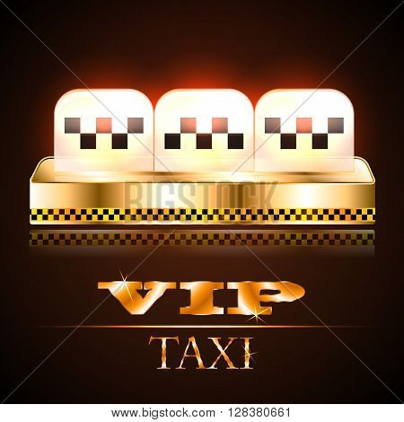 Light box on the roof of the taxi with his sword. VIP taxi. Golden taxi.
