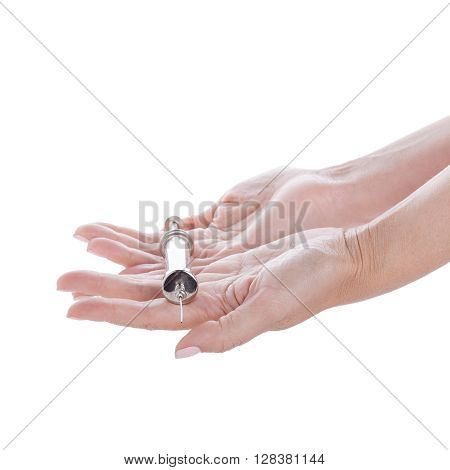 Old Glass Multiple Use Syringe In Female Hand