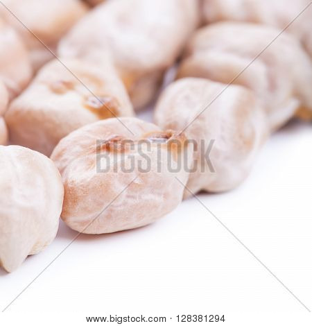 Raw Dry Chickpeas On White Background