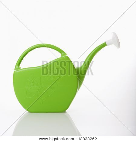 Green plastic watering can.