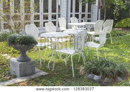 Garden table and chairs in the back yard