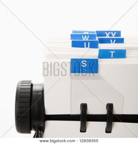 Detail of rolodex with blue tabs.