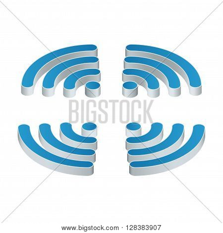Wi-Fi isometric Icon. Set of four wifi icons for business or commercial use. Flat 3d vector illustration. Free wifi zone. Public free Wi-Fi hotspot zone wireless connection