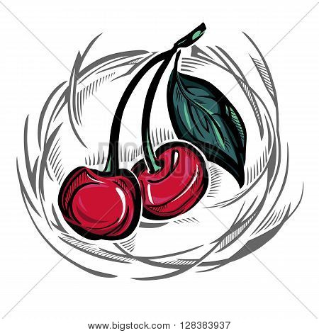 A stylized vector drawing of a pair of cherries, with a leave.
