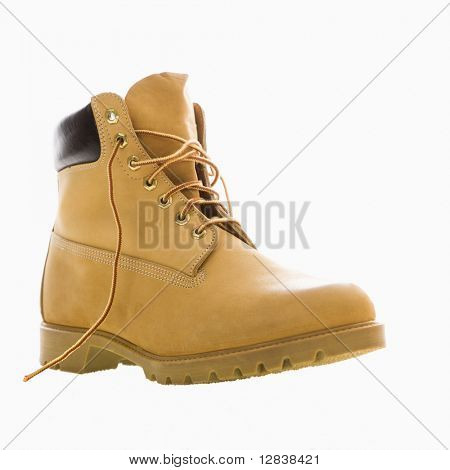 One tan work boot.