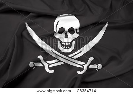 Waving Calico Jack Pirate Flag. Beautiful satin background.