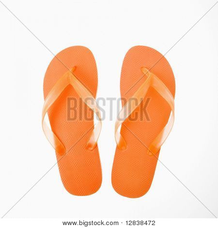 Orange Kunststoff Thong Flip-Flops.