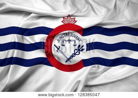 Waving Flag of Cincinnati Ohio. Satin background