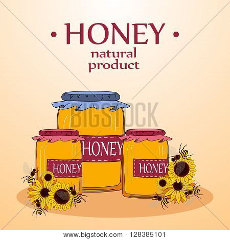 Beekeeping vector set. Honey in the jar and barrel with dipper. Bee on the flower. Vector illustration.