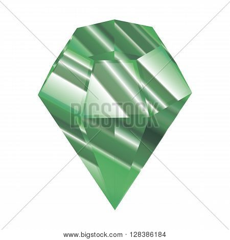Crystal vector illustration. green Faceted jewel. a beautiful diamond.