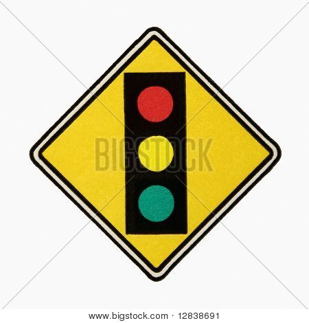 Stoplight ahead road sign against white background.