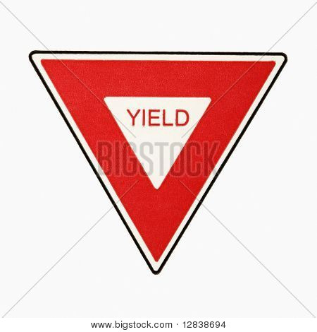 Yield road sign against white background.