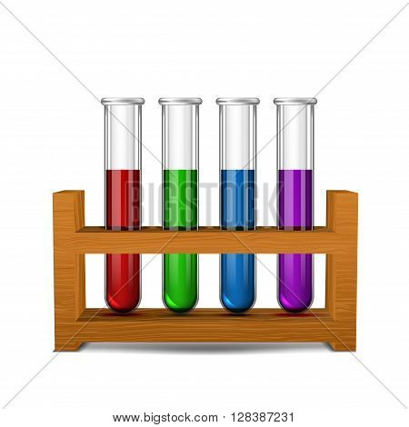 Colorful Test Tubes isolated on a white background.  vector illustration.