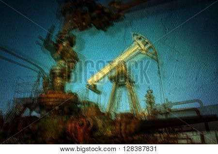 Work of oil pump jack on a oil field. Textured concrete grunge blurred motion. Concept oil and gas industry.