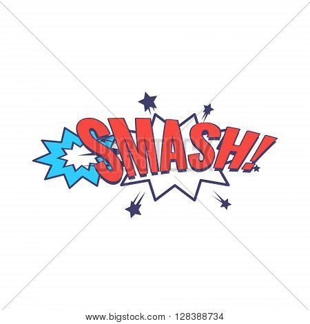 Smash Comic Speech Bubble Bright Color Classic Comic Book Style Flat Vector Design Sticker