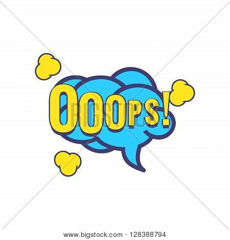 Ooops Comic Speech Bubble Bright Color Classic Comic Book Style Flat Vector Design Sticker