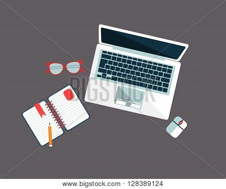 Workplace With Lap Top Simple Geometric Style Flat Vector Illustration On Grey Background