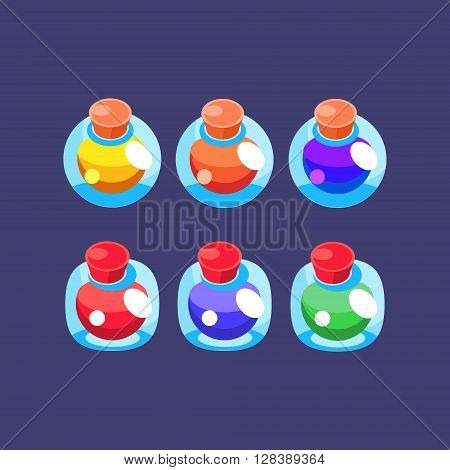 Flash Game Magic Elixir Simple Flat Vector Design In Colorful Childish Style Isolated Icon Set