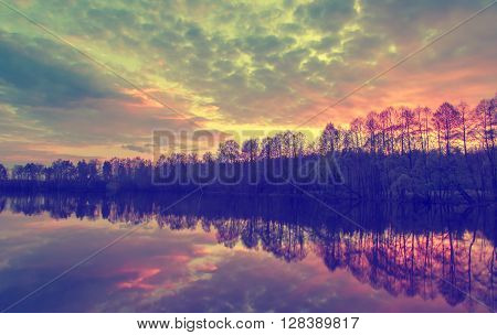Beautiful Landscape. Bright Stunning Sunset On The River