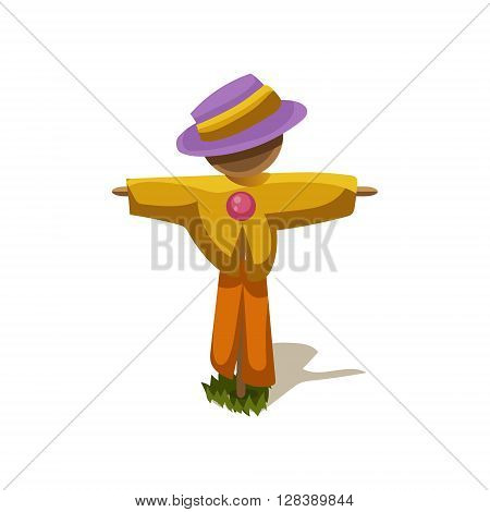 Scarecrow Simplified Cute Illustration In Childish Colorful Flat Vector Design Isolated On White Background