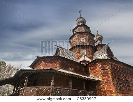 A Sample Of Russian Wooden Architecture. Temple Museum In Suzdal. Travel In Russia. Architectural Mo