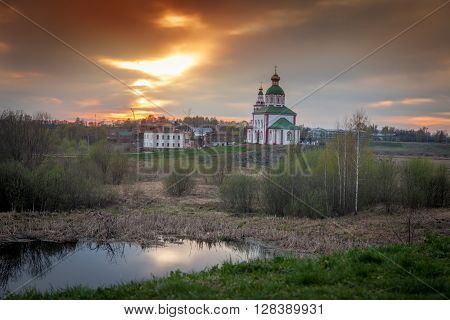 Beautiful Landscape. Russian Orthodox Church At Sunset. The Architecture Of The Golden Ring.