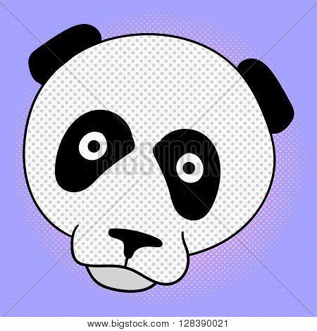 Head of panda pop art vector. Beautiful bear style for comics. Hand-drawn