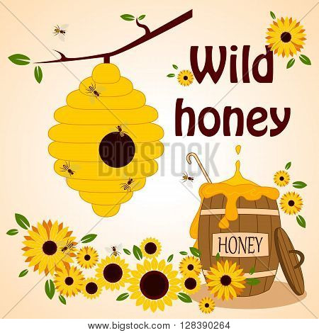 Beekeeping vector set. Honey in the barrel with dipper. Bee on the flower. Wild honey. Vector illustration.