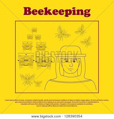 Bekeeping icon set. Beekeeping vector symbols. Outline style of beekeeping. Vector illustration.