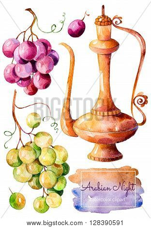 Handpainted watercolor collection with gold ewer and bunch of grapes red and white
