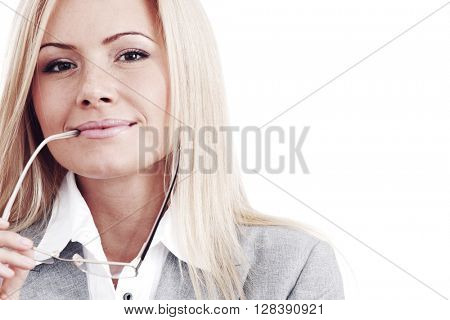 Business woman with glasses isolated on white background