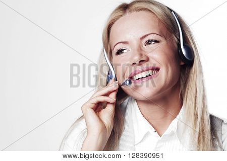Support phone operator portrait in headset
