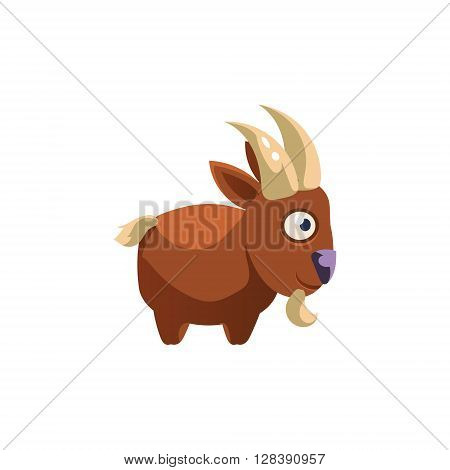 Goat Simplified Cute Illustration In Childish Colorful Flat Vector Design Isolated On White Background
